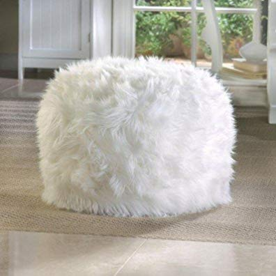 Elegant White Fuzzy Pouf Padded Seating Ottoman Foot Stool Home Interior Decor