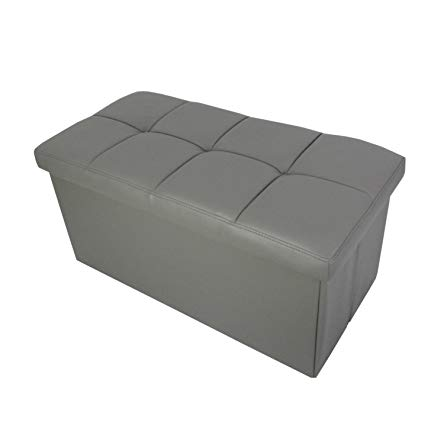 Redde Boo Storage Ottoman Bench Seat, Folding Foot Rest Stool in Faux Leather,waterproof,30x15x15 inches (Grey)