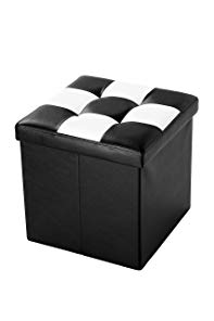 Juvale Checkered Folding Storage Box - Contrast Stitch Design, Faux Leather, Foot Rest - 15
