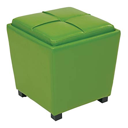 Office Star Metro Vinyl 2-Piece Storage Ottoman Nesting Cube Set with Dark Espresso Finished Feet, Green