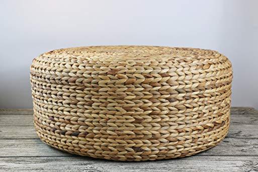 GRAS Rustic khaki floor cushions/straw floor pouf/gift for moms/Pouf ottoman/Wholesales bulk/Yoga/meditation cushion/wedding gift